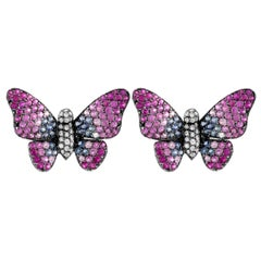 Ruchi New York Pink, Blue Sapphire and Diamond Butterfly Stud Earrings