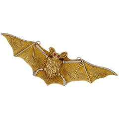 Art Nouveau Gold, Platinum and Ruby Bat Brooch