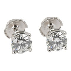 "Tiffany & Co. Diamond Stud Earrings in Platinum G VVS1/VVS2 ""2.34 Carat"""