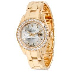 Rolex Pearlmaster 80298 Women's Diamond Watch in 18 Karat Yellow Gold
