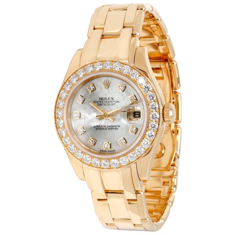 Rolex Pearlmaster 80298 Women's Diamond Watch in 18 Karat Yellow Gold For Sale