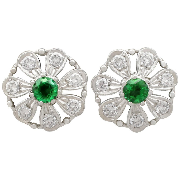 Tourmaline and Diamond White Gold Stud Earrings For Sale