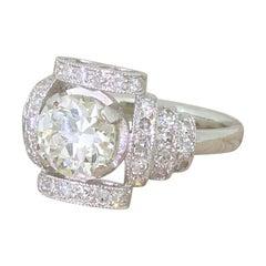 Art Deco 1.34 Carat Old European Cut Diamond Platinum Ring