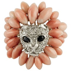 Secundum Coral, Diamonds, Blue Sapphires, 14 Karat White Gold Lion Ring