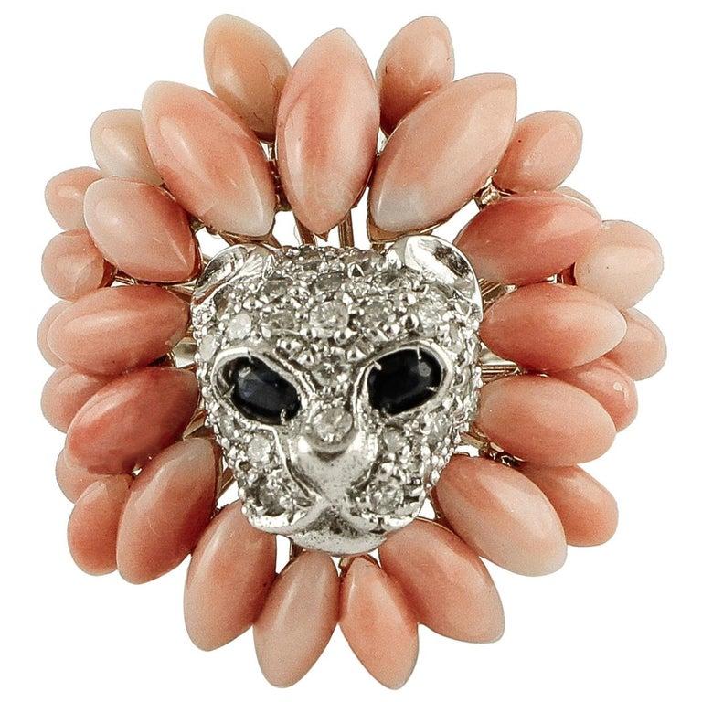 Corals, Diamonds, Blue Sapphires, 14 Karat White Gold Lion Ring For Sale