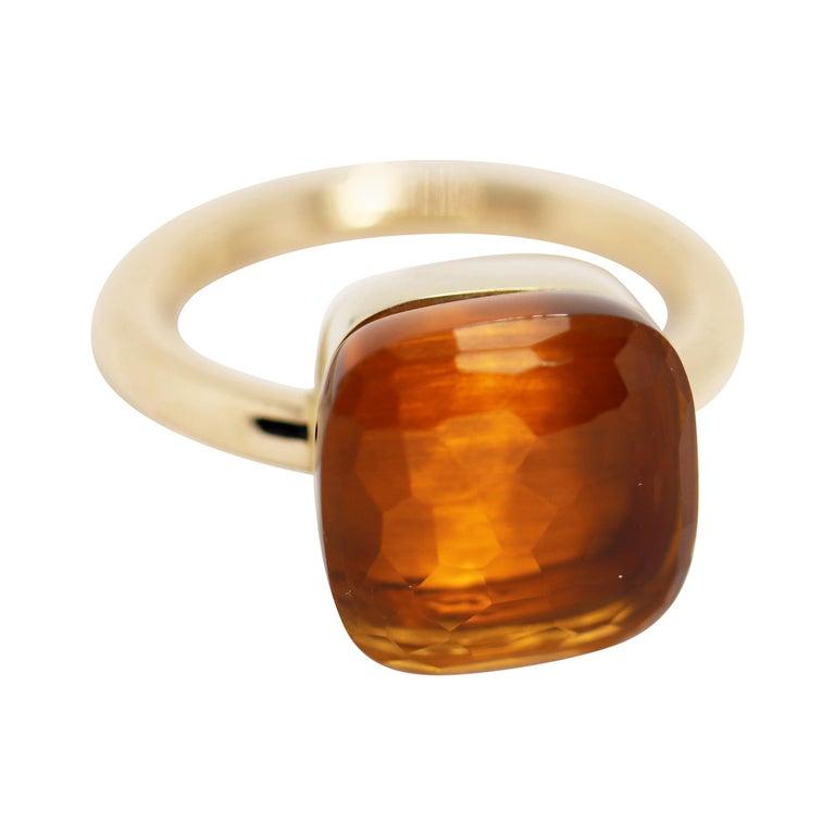 Pomellato Nudo Maxi Citrine Quartz 18 Carat Rose Gold Ring For Sale
