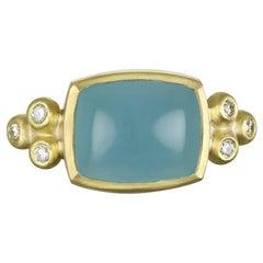 Faye Kim 18K Gold Aquamarine and Diamond Ring
