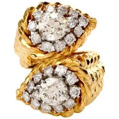 David Webb Diamond 18 Karat Yellow Gold Bypass Cocktail Ring