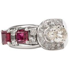 Vintage Diamond Ruby Platinum Band Cocktail Ring