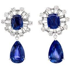 Natural No Heat Sapphire Diamond Platinum Dangle Drop Earrings