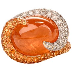Mandarin Garnet Diamond Swirl 18 Karat Gold Cocktail Ring