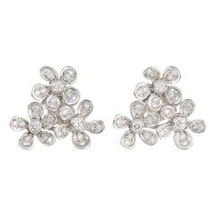 Flower Cluster 18 Carat White Gold Diamond Earrings