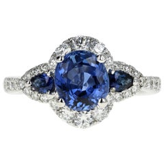 GIA Cert 2.12 Carat Ceylon Sapphire and Diamond Ring