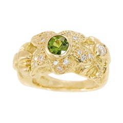 18 Carat Yellow Gold Diamond Tourmaline Ring