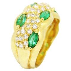 Morris & David 18 Karat Yellow Gold 2.08 Carat Emerald with Diamonds Dome Ring