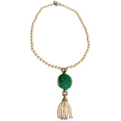 Cartier Necklace in Pearls and Chrysoprases