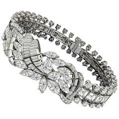 Unique 25 Carat Diamond Cluster Gold Floral Bracelet