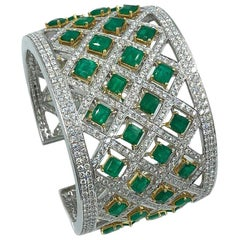 Exceptional Handcrafted Platinum Diamond and Emerald Wide Cuff Bracelet