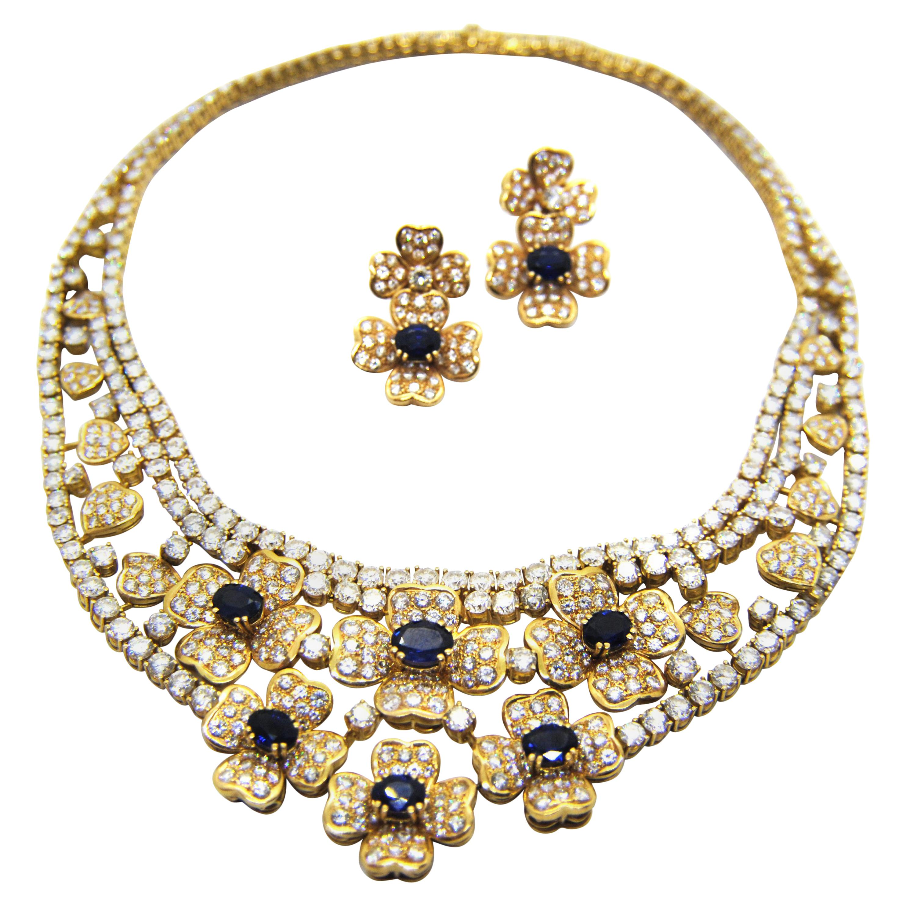 Flowers & Hearts 18kt Gold, Diamonds & Saphires  Necklace and Earring Suite