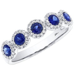 14 Karat White Gold 0.20 Carat Diamonds 0.70 Carat Blue Sapphire Ring