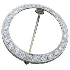 Art Deco Diamond Platinum Circle Pin Brooch