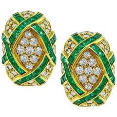 Diamond Emerald Yellow Gold Earrings