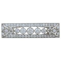 Art Deco Diamond Platinum Bar Pin Brooch