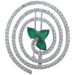 Emerald Diamond Swirl Gold Brooch