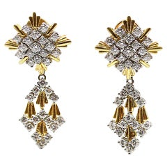 1980s 18 Karat Gold Diamond Night and Day Pendant Earrings