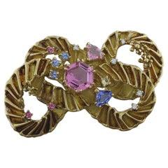Estate Tourmaline Diamond Gold Brooch