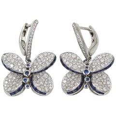 Graff White Gold Princess Butterfly w/ Diamonds and Light Blue Sapphire Earrings