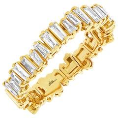 14 Karat Yellow Gold Baguette Diamond 0.67 Carat Band Ring