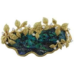 Estate Boulder Opal Diamond Gold Brooch or Pendant