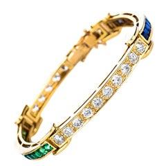Estate 18K Gold 7.2 CTW Natural Sapphire, Tsavorite & Diamond Bracelet 26 Grams