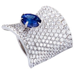Stefan Hafner Diamond Pave and Sapphire White Gold Curved Ring Size 7