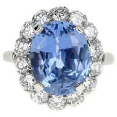 7.04 Natural No Heat Cornflower Blue Sapphire and Diamond Ring AGL Certified