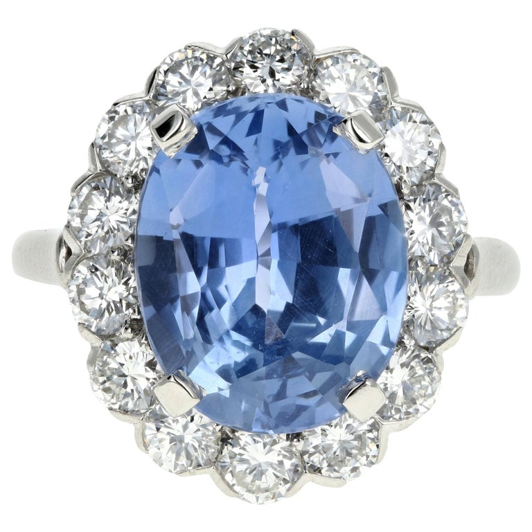 7.04 Natural No Heat Cornflower Blue Sapphire and Diamond Ring AGL Certified For Sale