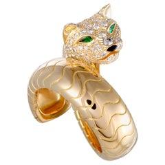 Cartier Panthere Diamond Emerald Onyx Yellow Gold Band Ring