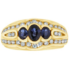 Three-Stone Blue Sapphire and Diamond Fashion Ring