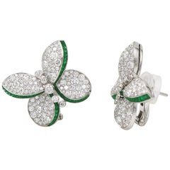 Graff White Gold Princess Butterfly Diamond and Emerald Stud Earrings