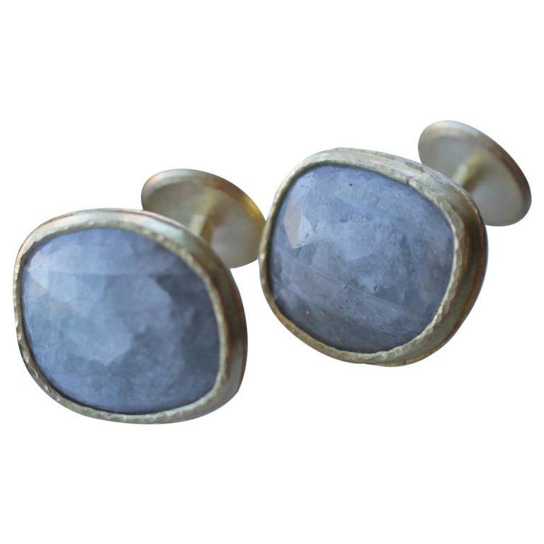 Light Blue Sapphire Diamonds 22K Gold Cufflinks Gift for Men Women Unisex For Sale