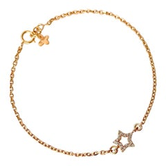 18Karat Solid Yellow Gold Diamond Star Charm Chain Bracelet