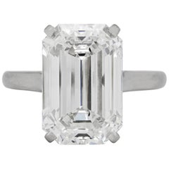 10.07 Carat E VS1 Emerald Cut Platinum Diamond Ring, by Cartier