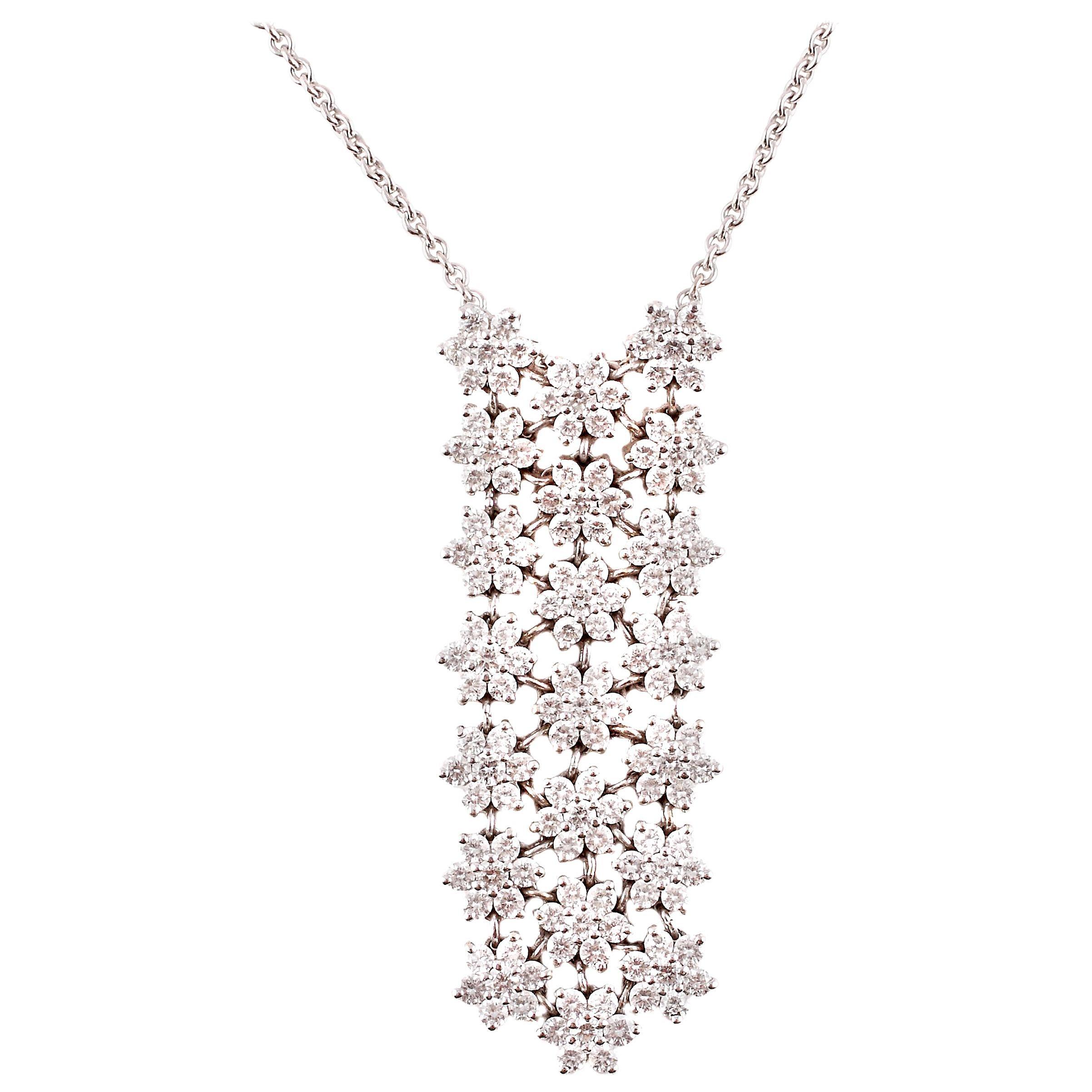 3.90 Carat White Gold Diamond Necklace