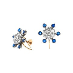 Estate Antique 14K Yellow Gold 2.5 CTW Mine Cut Diamond Sapphire Clipon Earrings