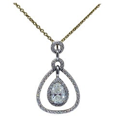 14 Karat Gold 1.93 Carat Pear-Shaped Diamond Necklace