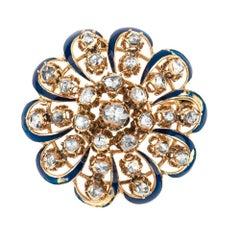 Estate Antique 14 Karat Gold 3 Carat Rose Cut Diamond Pin Brooch 18.5 Grams