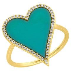 14 Karat Yellow Gold Diamond 0.13 Carat Turquoise 1.80 Carat Heart Ring