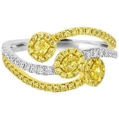 Fancy Yellow Diamond Halo Three-Stone Fashion Cocktail Two-Color Gold Ring