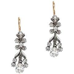 Antique Victorian Era 18K & Platinum Old European 5.4CTW Diamond Dangle Earrings